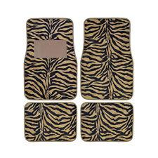New 4pcs Set Safari Zebra Tiger Beige Tan Front Rear Car Truck Carpet Floor Mats