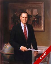 GEORGE H W BUSH US PRESIDENT PORTRAIT AMERICAN PAINTING ART REAL CANVAS PRINT