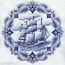 SHIP AT SEA BLUE WORK SET OF 2 HAND TOWELS EMBROIDERED NEW UNIQUE BY LAURA