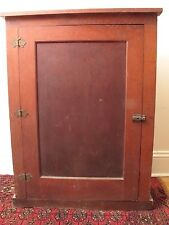 """LARGE VTG ANTIQUE PINE WALL CUPBOARD CABINET RED PAINT STAIN HUTCH TOP 40 5/8"""" T"""