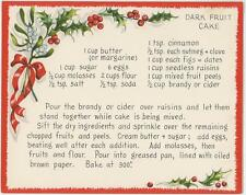 VINTAGE DARK FRUIT CAKE W/ BRANDY RECIPE 1 WINTER SNOW GARDEN SQUIRREL BEE CARD