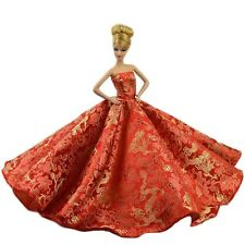 Red Gorgeous Chinese Style Wedding Party Dress Princess Clothes for Barbie Doll