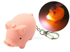 Pig Key Chain with LED Light and Animal Sound