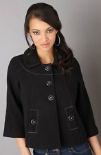 LADIES BLACK STITCH SWING SHORT SMART CASUAL BIG BUTTON JACKET COAT SIZE 10