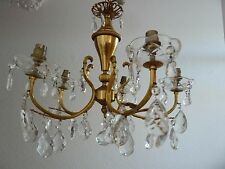 Beautiful Vintage 5 Arm Glass Crystal Chandelier Ceiling Light