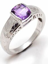 Solid 14K White Gold Natural Gem Stone Amethyst Men's Ring Fine Jewelery