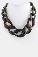 Designer Inspired Chunky Green and Brown Mix Chain Link Statement Necklace
