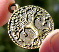 Brass TREE OF LIFE  Pendant GODDESS Wicca Pagan Charm Jewelry bead vintage GIFT