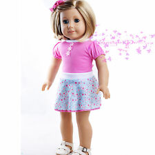 """Cute New Doll Clothe For American Girl Cute Pink & Blue Floral Dress 18"""" Doll"""