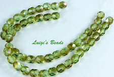25 Chrysolite-Celsian Czech Firepolished Faceted Round Glass Beads 6mm