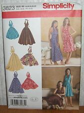 Womens/Misses Halter Neck Dresses Sewing Pattern/Simplicity 3823/SZ 14-22/UCN
