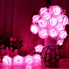 20 LED Rose Flower Fairy String Lights Wedding Christmas Party Garden Decoration