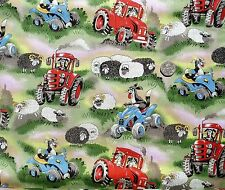 Field Days Dogs driving tractors fq 50x56 cm Nutex 89410--101 100% Cotton