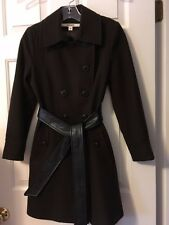 DKNY 2016  Wool Double Breasted Trench Coat with Leather Belt - REDUCED