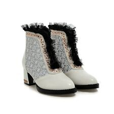 US4-15 Gladiator Women Block shoes Ankle Boots Mesh Lace Crystal Zip Punk Goth