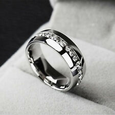 Men/Women Sz10 CZ Couple Stainless Steel Wedding Ring Titanium Engagement Band