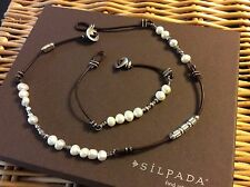 Silpada Necklace N1063 Bracelet B1062 Sterling Silver Leather Pearl & Button End