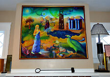 1970 FANTASTIC SURREALIST PAINTING OIL ON CANVAS by JANE HIRSH-FRAMED-TRIPPY!