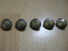 Flower buttons x5 antique gold, metal buttons,crafts,sewing, notions, gift