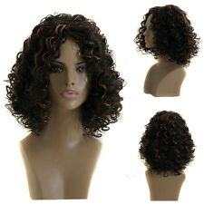 Black Brown Mix Hair Heat Resistant Short Curly African American Weave Full Wig