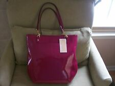 $268 Michael Kors Tote Jet Set Chain Bag Shoulder Patent Deep Pink NWT