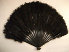 (REDUCED) ANTIQUE LATE 1800'S MOURNING BLACK OSTRICH FEATHER FOLDING FAN