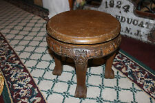 Antique Chinese Wood Carved Bench Stool Flower Stand-Carved Faces Claw Feet