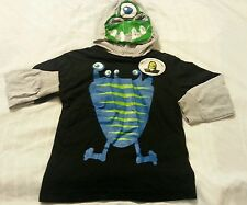 Hoodie Shirt Pull Out Face Boy Size 4 Kids Black Long Sleeve