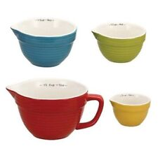 Creative Co-op Stoneware Batter-Bowl Shaped Measuring Cups, Multicolored , Set