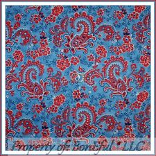 BonEful FABRIC Cotton Quilt USA America Red White Blue Paisley Flower Dot SCRAP