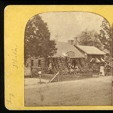 1876 Stereoview Old Log Cabin, Philadelphia Centennial Exposition