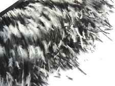 F130 PER 30cm-Black White Ostrich feather fringe Trim Brooch/Fascinator Material