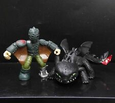 lot of 2 How to Train your Dragon HICCUP Toothless Night Fury ACTION Figure