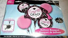 Anagram CONGRATS GRAD! - 5 Balloon Bouquet - Over 6 Ft. Tall - PINK,BLACK,WHITE