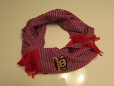Authentic Paul Frank Julius Face Striped Scarf  Unisex  Red / Blue  Made in USA