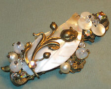 Antique School of Haskell PEARL LEAF & BRASS FLOWER OVERLAY BROOCH Glass Beads
