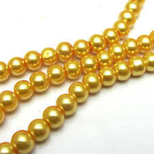 New 6MM 100pcs Charm Round  Beads Glass Spacer Pearls Gold  Color