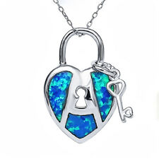 925 Sterling Silver Created Opal Key And Lock Heart Pendant Necklace 18""