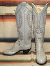 Womens Vintage Panhandle Slim Gray Leather Tall Cowboy Boots 5 B New In Box