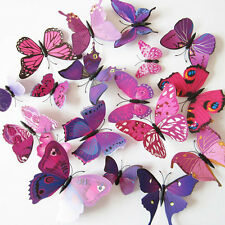 12 pcs 3D Butterfly Wall Art Decal Stickers Magnet Mural Home Decoration Purple