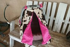 brown cow/ horse print and pink minky back Infant Car Seat Canopy Cover