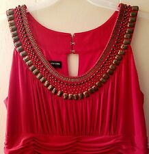 Jones New York Red Beaded Dress Sleeveless Ruched Waist Size 16 Cocktail Tiered