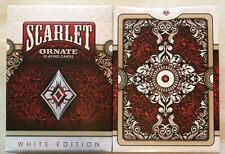 1 Deck White Edition Scarlet ORNATE Playing Cards~HOPC