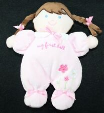 """Carter's My First Doll 8.25"""" Pink Flower Brown Hair Rattle Plush Baby Toy"""