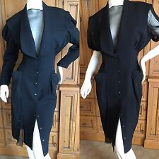 Thierry Mugler 1980's Little Black Snap Front Dress with Detachable Sleeves 38