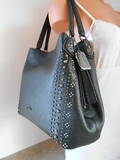 New COACH 55544 BANDANA RIVETS  EDIE 31 Pebble Leather Shoulder Bag $450 BLACK