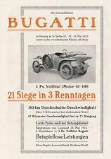 Bugatti Vollblut 5 PS Ettore Bergrennen Molsheim Plakat Braunbeck Motor A3 533