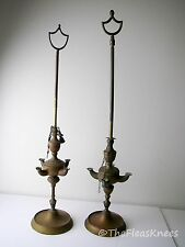 2 Antique 19th Century Brass 4 Spout Whale Oil Lamps, 2 Tools