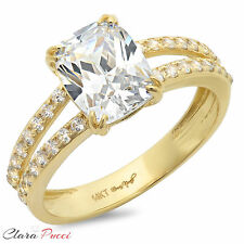 3.40 CT Engagement ring Cushion cut Lab Diamond 14K Yellow Gold Bridal Jewelry