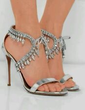 Aquazzura Milla jeweled heels size 39 silver wedding shoes current RRP $2099